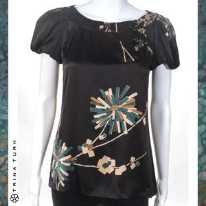 TRINA TURK Brown Abstract Floral Print Silk Blouse